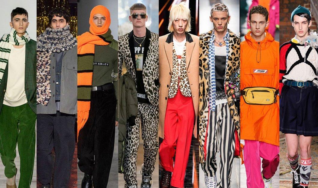 Trendy v (pod)zimní pánské módě: šála Harryho Pottera, leopard a kabelka na krk. Držte se ale raději při zemi, i tak můžete být in